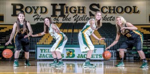 FAMILY COURT - Sisters Ashley Montgomery and Amber Montgomery along with McKenzie Elkins and Chelsea Elkins have helped the Boyd Lady Jackets to an 8-0 start. Messenger photo by Joe Duty