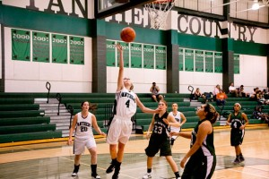 NICE FINISH - Paradise's Kaylee McConnell connects on a lay-up against Lake Worth Tuesday. The Lady Panthers won 77-10. Messenger photo by Jimmy Alford