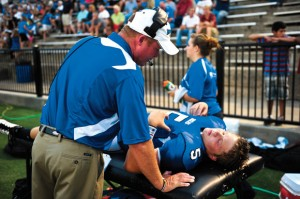 RETURN STORY - Decatur High School senior Tyler Story returned to the football field in August after sustaining a serious knee injury in September of 2011. Messenger photo by Joe Duty