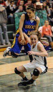 RIPPED AWAY - Paradise's Kaylee McConnell tries to hang onto the ball against Brock Tuesday. Brock defeated the Lady Panthers, 65-31. Messenger photo by Joe Duty