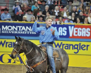 TUF IT OUT - Tuf Cooper, 22, of Decatur, won a second consecutive PRCA world title in tie-down roping after 10 rounds in the Wrangler National Finals Rodeo in Las Vegas this month. Photo by Kirt Steinke/Western and Rodeo Images