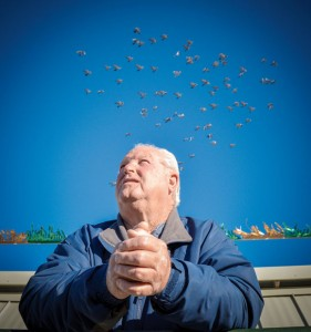 A BIRD IN HAND - C.L. Gage and fellow pigeon racer Kenny Kelly helped organize the Texas Shootout, a three-week long pigeon race featuring flights of 150, 250 and 325 miles. After being held for several years in Parker County, it&#039;s been moved to Wise County to keep a major pigeon race alive in the region. Messenger photo by Joe Duty