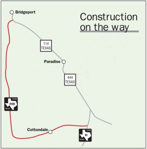 ROAD WORK AHEAD — Work to expand and repair a 13-mile stretch of Farm Road 2123 from Texas 114 in Bridgeport to County Road 3355, also known as School House Road in Cottondale, is to begin Jan. 21. Crews will work on 2,000-foot sections at a time, and traffic will be delayed and guided by flaggers. The project is expected to be completed by late November.