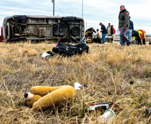 DEADLY MORNING - A five-month-old infant died in a rollover wreck Friday morning on U.S. 81/287 a few miles south of Decatur. Messenger photo by Joe Duty