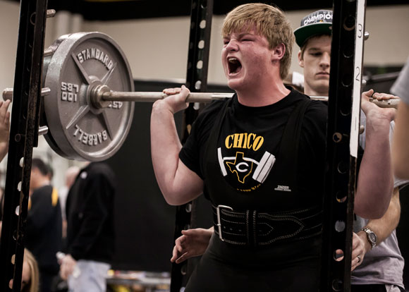 FRESHMAN POWER - Chico freshman Tyler Melton finishes a squat Saturday at the Chico Powerlifting Meet. Melton finished fifth in the 275 class. Melton totalled 1,080 pounds. Messenger photo by Jimmy Alford