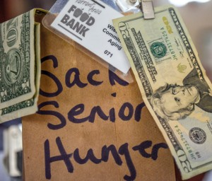 LUNCH SACRIFICE - Instead of eating out at lunch Thursday, the Wise County Committee on Aging encourages community members to bring a lunch from home and donate what would otherwise be spent to a circulated paper sack as part of Sack Senior Hunger. The fundraiser benefits Meals on Wheels and the local senior population who might otherwise not have a meal. For a sack to pass around your workplace, call Megan at 940-626-0586 or Donna at 940-627-5329. Messenger photo by Joe Duty