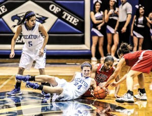 MY BALL - Decatur's Haley Dennard and Gainesville's Ariannah Kemp fight for the basketball Tuesday. The Lady Leopards won 49-27. Messenger photo by Joe Duty