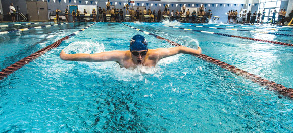 NICE DAY - Decatur's Logan Huff had a nice district meet Saturday advancing to regionals in two relays and the 100 freestyle. Messenger photo by Joe Duty