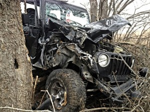 OFF ROAD - Fischer's vehicle was a total loss after it crashed into a stand of trees. Messenger photo by Joe Duty