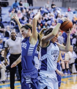 RIPPED AWAY - Decatur's Haley Dennard and the Lady Eagles had a tough time with Krum's defense Friday. The Lady Cats took the 55-29 victory.  Messenger photo by Joe Duty