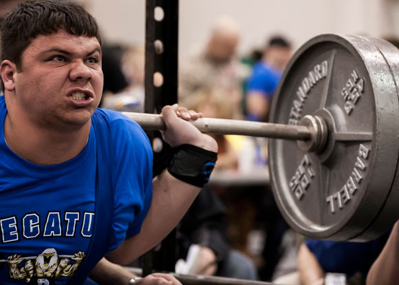 SECOND PLACE - Decatur's Dakota Williams finished second in the 275 class Saturday. Williams lifted a total of 1,185 pounds in four events. Messenger photo by Jimmy Alford
