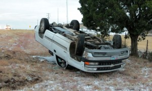 ONE VEHICLE ROLLOVER - A pickup lost control and turned over at approximately 7:30 this morning about 1 mile south of Decatur on FM 730. There were no injuries. Witnesses said the driver was not speeding but the truck started to loose traction and as the rear end came around and came into contact with heavier ice on the road edge causing the truck to slide down the embankment and turn over. Messenger photo by Mark Jordan