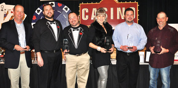 CHAMBER HONORS - At its annual banquet Saturday, the Bridgeport Area Chamber of Commerce recognized (from left) Mills Shallene as the Outstanding Citizen; Ink 'N' Stitch, represented by Scott Hiler and Colby Shawn, as Individual Business of the Year; Sylvia Elenburg with the Presidential Award; Brookshire's Food and Pharmacy, represented by store director Jonathan Williams, as the Corporate Business of the Year; and Dr. Jeff Williams with the Dr. Hunter Humanitarian Award. Messenger photo by Erika Pedroza