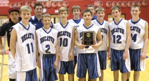 CHAMPS - The Decatur eighth grade boys won the district tournament Thursday in Gainesville. The team consists of Christian Cantu, Jacob Tibbels, Hayden Bennett, Parker Cullop, Cody Grimes, Payton McAlister, Bryce Elder, Parker Hicks and Tyler Ticknor. Submitted photo