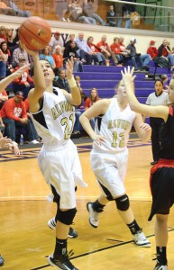 FLYING IN - Alvord's Lauren Hart scores two more as the Lady Bulldogs cruised to a regional semifinal win over Chapel Hill Friday. Messenger photo by Mack Thweatt 