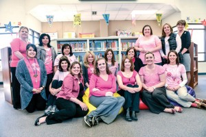 KATIE'S CRUSADERS - Rann Elementary School teachers and administrators wore pink shirts in memory of Katie Stevens Monday. The longtime educator, who most recently served as a math intervention teacher, lost a 13-year battle with breast cancer the day before. Messenger photo by Joe Duty