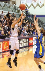 OPEN LOOK - Alvord's Carley King gets off a jump shot during the regional final Saturday. Messenger photo by Mack Thweatt