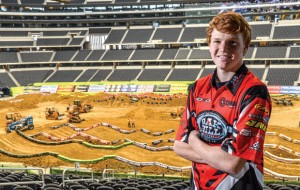 PRO DEBUT - Decatur's Mitchell Oldenburg overlooks the supercross track at Cowboy Stadium where he will make his first professional start Saturday. Messenger photo by Joe Duty