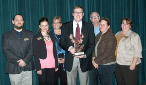 WEATHERFORD COLLEGE - Sharing the honors were Terry Paddick, biology faculty; Dr. Erin Sagerson, English; Pam Holland, developmental education specialist; Matt Joiner, associate dean; Mike McCoy; Dr. Cathy Johnson, social sciences instructor; and Dr. Lisa Welch, biological sciences instructor. Messenger photo by Roy J. Eaton