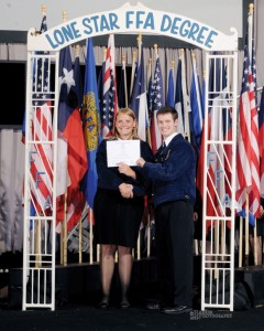 "AMONG STATE'S BEST - Summer Miller of Decatur is presented the FFA Lone Star Degree at a state convention in Corpus Christi last summer. The award is the highest honor bestown at the state level and only ""9,000 of the 90,000 registered FFA members ever get it,"" Miller said. Submitted photo"