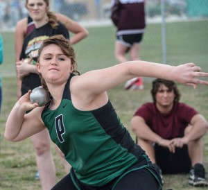 FOURTH PLACE -  Paradise's Hope Dennie finished fourth in the shot put at the Double B Relays. Messenger photo by Joe Duty
