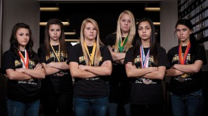 HAPPY ENDING - (From left) Alli York, Breann Hall, Charlye Biggerstaff, Cheyenne Hale, Ali Galindo and Jordan Vidal came back from the state powerlifting meet as the seventh ranked team in Class A. Messenger photo by Jimmy Alford