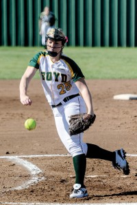 IN CONTROL - Boyd's Chelsea Arlington tossed all six innings for the Lady Jackets Monday in their 12-2 win over Millsap. Messenger photo by Joe Duty