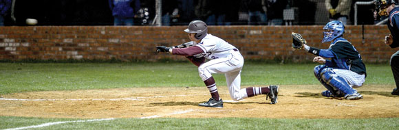 LAYING IT DOWN - Bridgeport's Jared Sturdivant reaches out to lay down a bunt during the Bulls' win over Decatur Tuesday. Messenger photo by Joe Duty