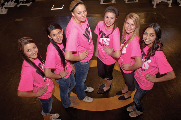 ON THEIR WAY - (From left) Alli York, Jordan Vidal, Cheyenne Hale, Breann Hall, Charlye Biggerstaff and Ali Galindo will compete in state powerlifting meet March 16 in Corpus Christi. Messenger photo by Jimmy Alford