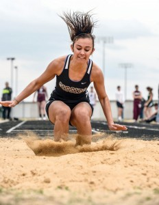 PERFECT LANDING - Bridgeport's Sabrina Garza makes a nice landing during the long jump event at the Double B Relays Thursday. Messenger photo by Joe Duty