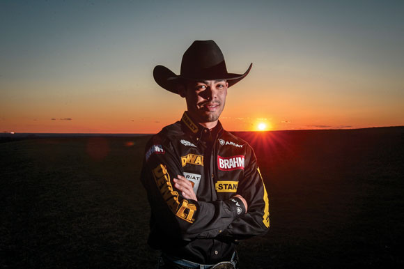 RISING STAR - Professional bull rider Marco Eguchi, 23, of Decatur was ranked third in the overall Built Ford Tough Series standings going into today's Dickies Iron Cowboy IV at Cowboys Stadium in Arlington. Messenger photo by Joe Duty