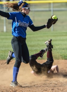 SAFE!!! - Bridgeport's Hayley Davidson slides into second as Decatur's Brittany Roberts fields the ball. Messenger photo by Joe Duty