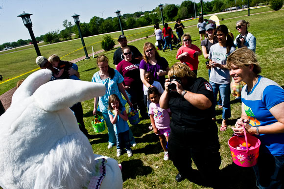 TIME FOR EGG HUNTS - Children and parents flock to the Easter bunny at the Sheriff's Office Easter egg hunt. The annual event is Tuesday, March 26, at the Decatur Civic Center. Messenger photo by Joe Duty