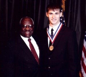 BOYD SENIOR HONORED - Chase Graham, a senior at Boyd High School and president of the student council, received dual honors recently in Washington, D.C. Graham was presented the Horatio Alger Scholarship and was also recognized as a National Scholar by the National Association of Student Councils. Presenting the award was Supreme Court Justice Clarence Thomas. Submitted photo