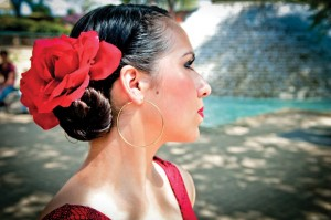 CULTURAL BEAUTY - Decatur High School freshman Hannah Solis prepares for the flamenco team's performance outside the Hemisphere Tower in San Antonio. The team danced at the Pan-American Student Forum at the Lila Cockrell Theatre in the Henry B. Gonzalez Convention Center the preceding night. Photo courtesy of Allie Davis