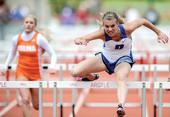 FIRST, SECOND - Nicole Neighbors captured the top spot in the 300 hurdles and grabbed second in the 100 hurdles. Messenger photo by Joe Duty