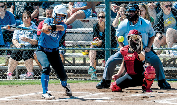 NICE HIT - Alex Gabriel connects on a pitch during the Lady Eagles 14-0 win over Bridgeport Saturday. Messenger photo by Joe Duty