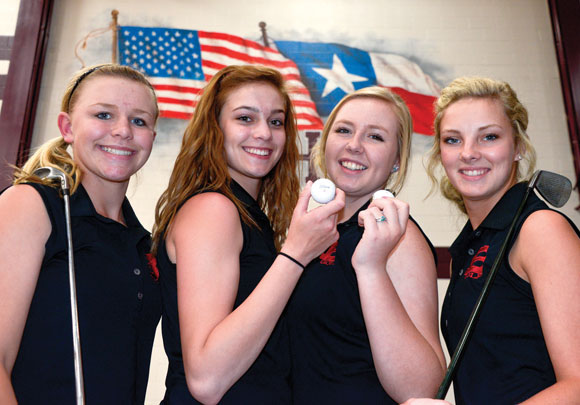 OFF TO REGIONALS - Lexi Read, Haley Shinn, Remi Swennson and Tiffany Hawkins will represent Bridgeport at the Region II Tournament Monday and Tuesday at Tanglewood Golf Course. Messenger photo by Joe Duty