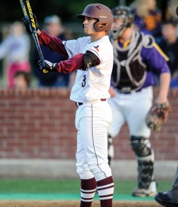 READY TO DELIVER - Alex Samples gets ready to step in the batter's box at Denton's Bronco Stadium Thursday. Samples had two hits, including a run-scoring single that gave the Bulls some insurance late. Messenger photo by Joe Duty