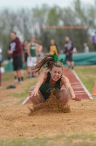SANDY LANDING - Paradise's Bailey Sides won the long jump at the Boyd Track Meet Thursday. Messenger photo by Joe Duty