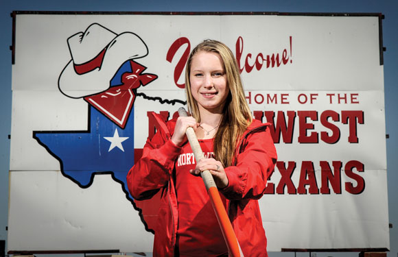 VAULTING AHEAD - Northwest's Desiree Freier has her sights set on another state championship and a national record in the pole vault. Messenger photo by Joe Duty