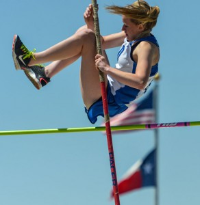 VAULTING TO THE TOP - Decatur's Darci Billmire clears the bar on her way to a first-place finish in the pole vault. Messenger photo by Joe Duty