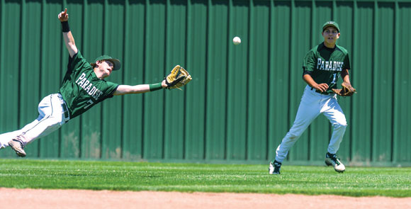 DIVING EFFORT - Paradise's Jarrett Holt leaps for a sinking line drive against Maypearl Saturday at Chisolm Trail High School in Saginaw. The Panthers season came an end with an 11-3 loss in game three. Messenger photo by Joe Duty