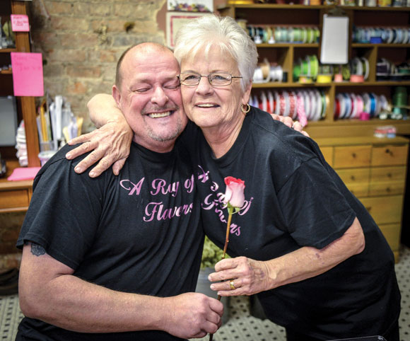GIFT OF NURTURE - Mother's Day means more to florist Ray Cornelison, of Decatur, than most. His mother, Pat Cornelison, not only works with him at his floral shop, but her motherly love also helped keep him alive and his shop open during a brutal battle he had with cancer last year. Messenger photo by Joe Duty