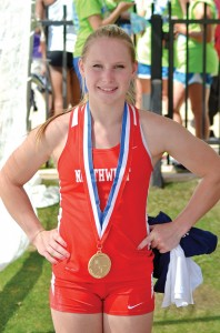 GOLDEN FINISH - Northwest's Desiree Freier (above) shows off her gold medal after winning the Class 5A state pole vaulting championship for the second straight year. Freier (right) makes her record breaking jump. Messenger photo by Mack Thweatt