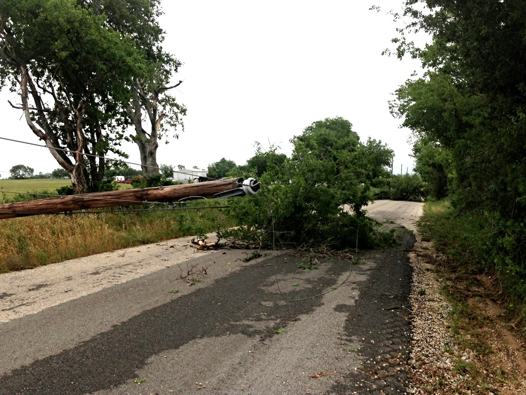 Strong winds knocked down trees and powerlines throughout the county. This damage on Greenwood Road a few miles north of Decatur shut down the road.