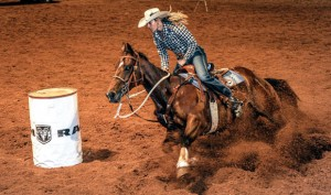 MAKING THE CUT - Shada Brazile competes Saturday night at Butterfield Stage Days PRCA Rodeo at the Bridgeport Riding Club Arena. Messenger photo by Joe Duty