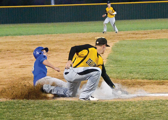 MAKING THE TAG - Chico's Hagen Davis looks to make the out at third base Friday during the Dragons' playoff series against Lipan. Chico went on to win the best of three series. Messenger photo by Mack Thweatt