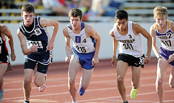 MOVING ON - Taylor Clayton's times in the 3200 and 1600 meter runs were good enough to qualify him for state in each event. He finished third in both races. Messenger photo by Joe Duty