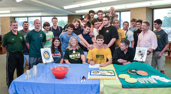 MOVING ON - Boyd's Chase Graham signed his letter of intent with A&M Commerce Tuesday. He will throw the discus for the Lions while majoring in engineering. Messenger photo by Joe Duty